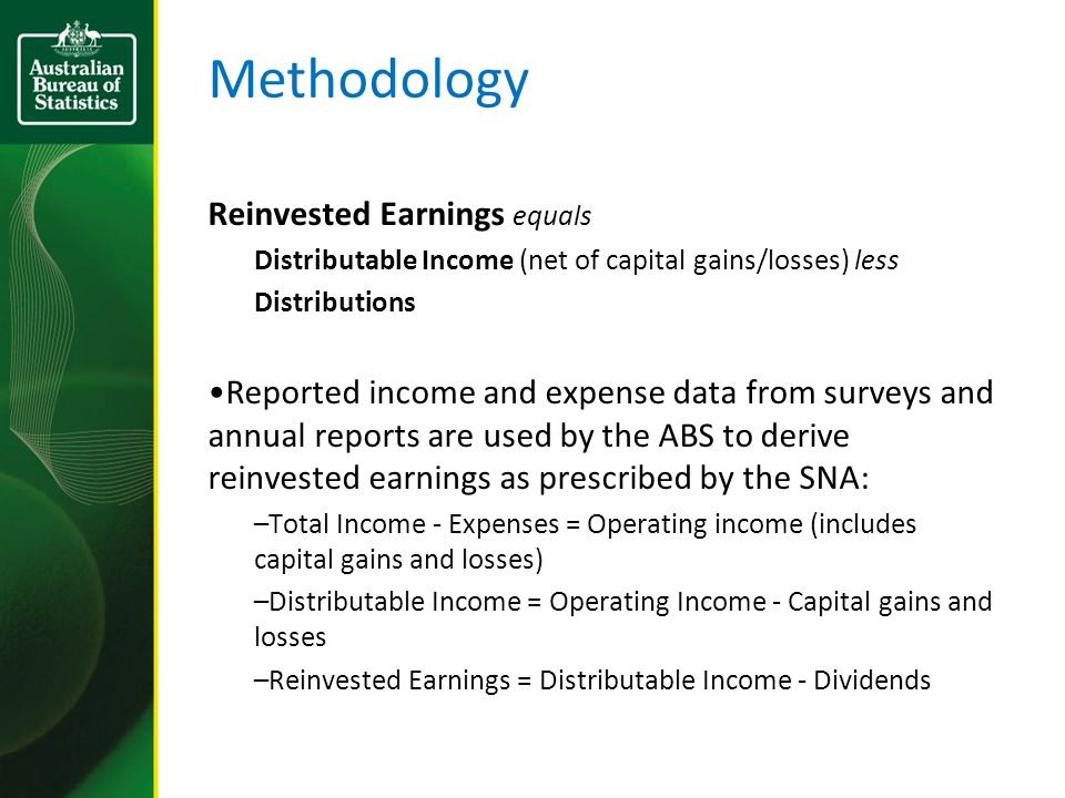 Methodology Reinvested Earnings equals Distributable Income (net of capital gains/losses) less Distributions Reported income and expense data from sur