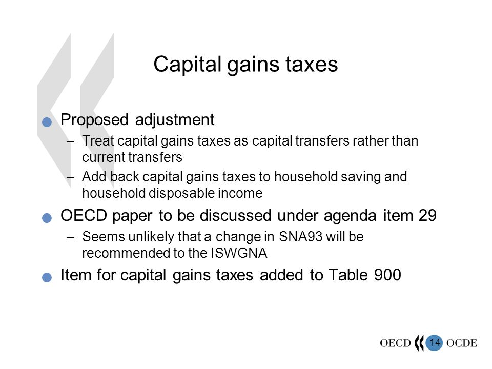 14 Capital gains taxes Proposed adjustment –Treat capital gains taxes as capital transfers rather than current transfers –Add back capital gains taxes to household saving and household disposable income OECD paper to be discussed under agenda item 29 –Seems unlikely that a change in SNA93 will be recommended to the ISWGNA Item for capital gains taxes added to Table 900