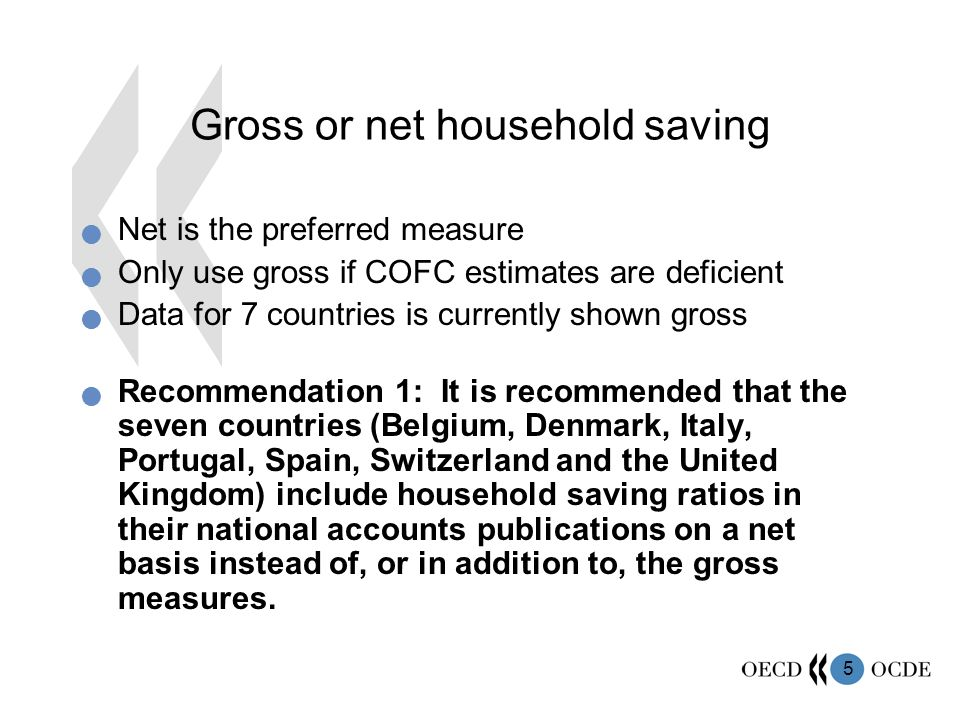 5 Gross or net household saving Net is the preferred measure Only use gross if COFC estimates are deficient Data for 7 countries is currently shown gross Recommendation 1: It is recommended that the seven countries (Belgium, Denmark, Italy, Portugal, Spain, Switzerland and the United Kingdom) include household saving ratios in their national accounts publications on a net basis instead of, or in addition to, the gross measures.