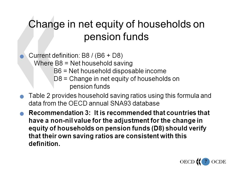 7 Change in net equity of households on pension funds Current definition: B8 / (B6 + D8) Where B8 = Net household saving B6 = Net household disposable income D8 = Change in net equity of households on pension funds Table 2 provides household saving ratios using this formula and data from the OECD annual SNA93 database Recommendation 3: It is recommended that countries that have a non-nil value for the adjustment for the change in equity of households on pension funds (D8) should verify that their own saving ratios are consistent with this definition.