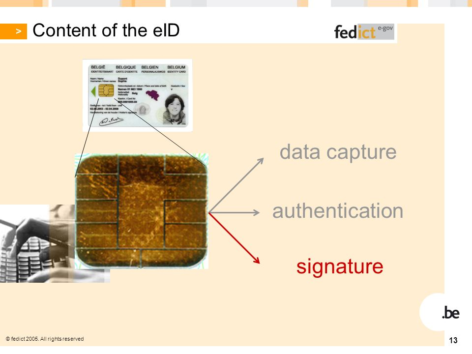 © fedict All rights reserved 13 authentication data capture signature Content of the eID