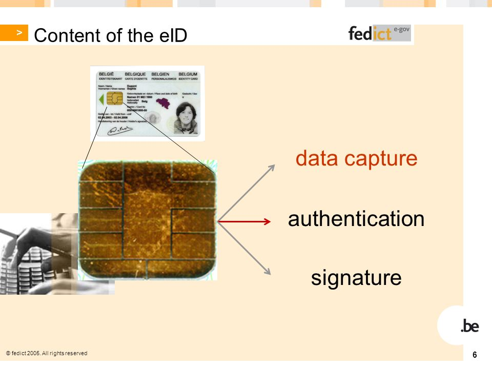 © fedict All rights reserved 6 authentication data capture signature Content of the eID