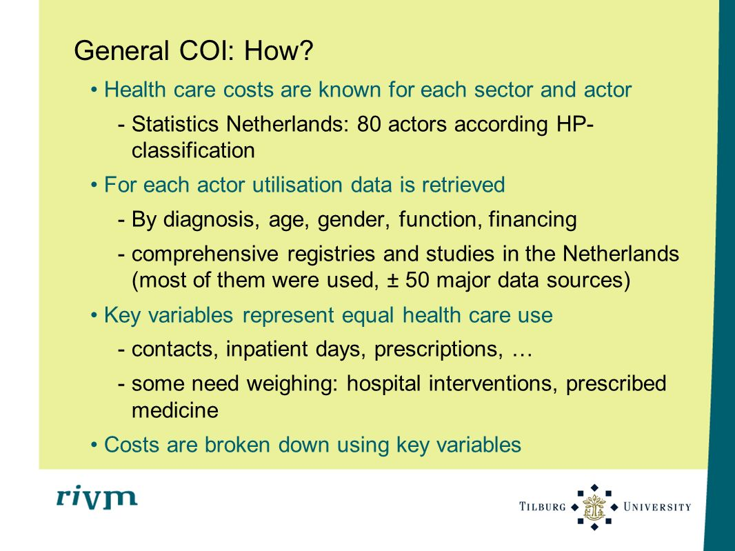 General COI: How? Health care costs are known for each sector and actor -Statistics Netherlands: 80 actors according HP- classification For each actor