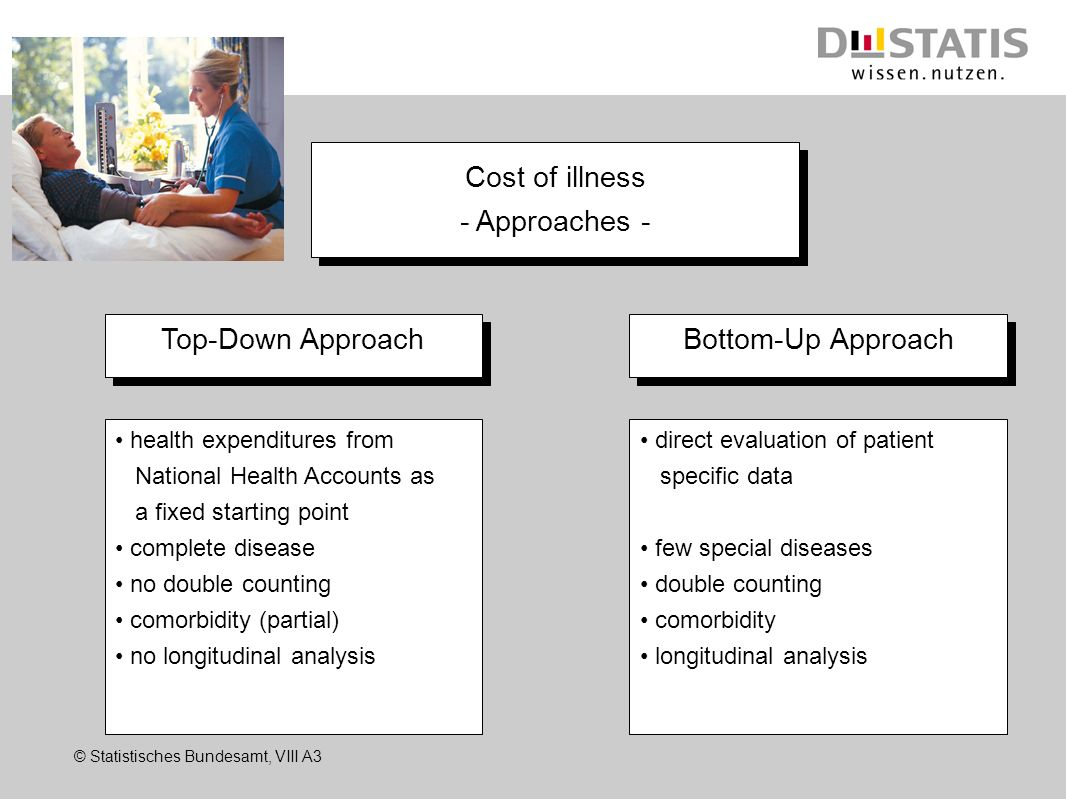 © Statistisches Bundesamt, VIII A3 Cost of illness - Approaches - Cost of illness - Approaches - Top-Down Approach Bottom-Up Approach health expenditu