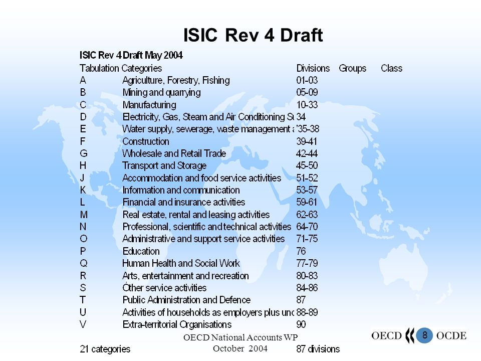 8 OECD National Accounts WP October 2004 ISIC Rev 4 Draft