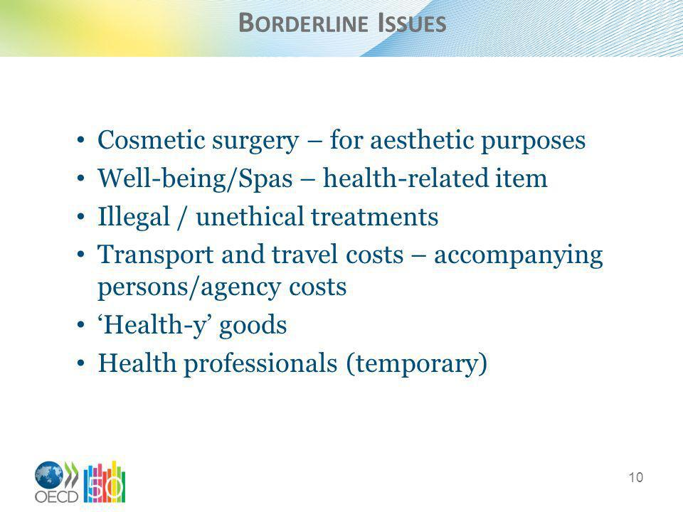 B ORDERLINE I SSUES Cosmetic surgery – for aesthetic purposes Well-being/Spas – health-related item Illegal / unethical treatments Transport and travel costs – accompanying persons/agency costs Health-y goods Health professionals (temporary) 10