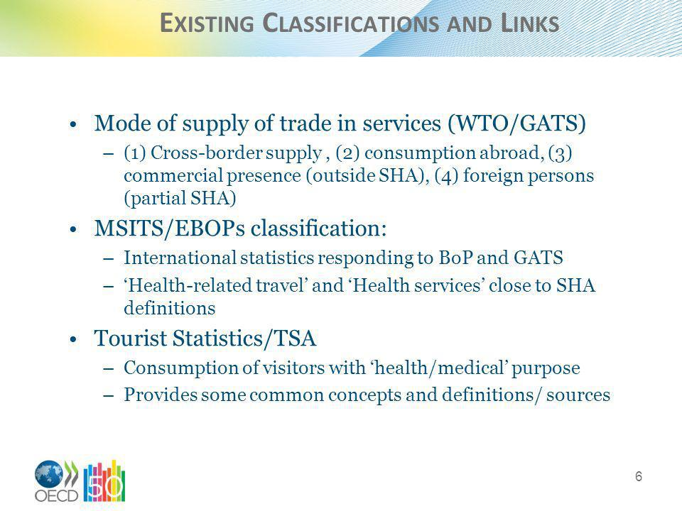 E XISTING C LASSIFICATIONS AND L INKS Mode of supply of trade in services (WTO/GATS) –(1) Cross-border supply, (2) consumption abroad, (3) commercial presence (outside SHA), (4) foreign persons (partial SHA) MSITS/EBOPs classification: –International statistics responding to BoP and GATS –Health-related travel and Health services close to SHA definitions Tourist Statistics/TSA –Consumption of visitors with health/medical purpose –Provides some common concepts and definitions/ sources 6