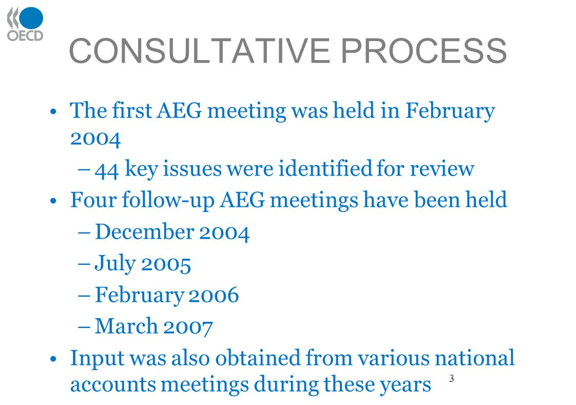 CONSULTATIVE PROCESS The first AEG meeting was held in February 2004 –44 key issues were identified for review Four follow-up AEG meetings have been held –December 2004 –July 2005 –February 2006 –March 2007 Input was also obtained from various national accounts meetings during these years 3