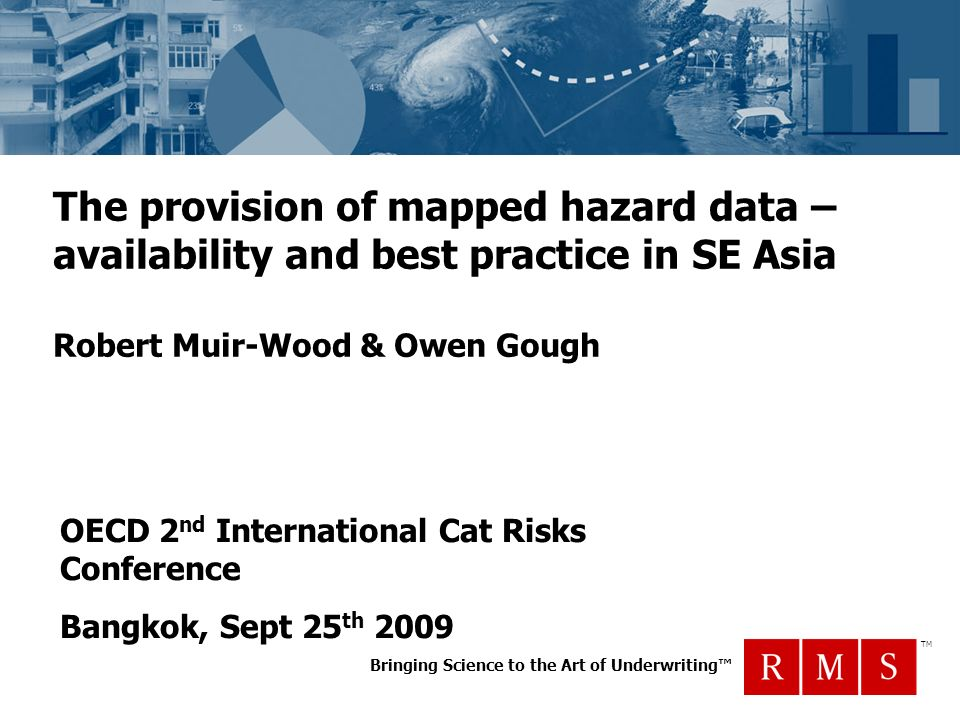 Bringing Science to the Art of Underwriting TM The provision of mapped hazard data – availability and best practice in SE Asia Robert Muir-Wood & Owen Gough OECD 2 nd International Cat Risks Conference Bangkok, Sept 25 th 2009