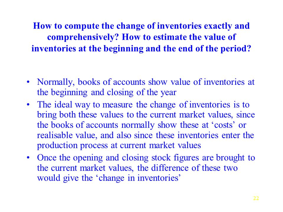 22 How to compute the change of inventories exactly and comprehensively.