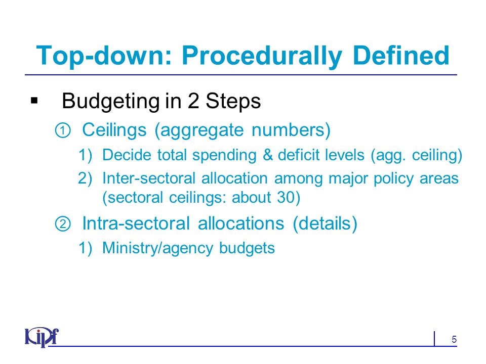 5 Top-down: Procedurally Defined Budgeting in 2 Steps Ceilings (aggregate numbers) 1)Decide total spending & deficit levels (agg.