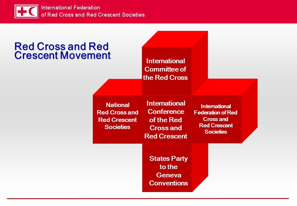 Red Cross and Red Crescent Movement National Red Cross and Red Crescent Societies States Party to the Geneva Conventions International Conference of the Red Cross and Red Crescent International Federation of Red Cross and Red Crescent Societies International Committee of the Red Cross