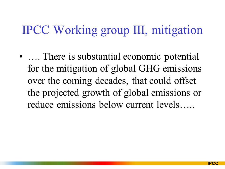 IPCC IPCC Working group III, mitigation ….