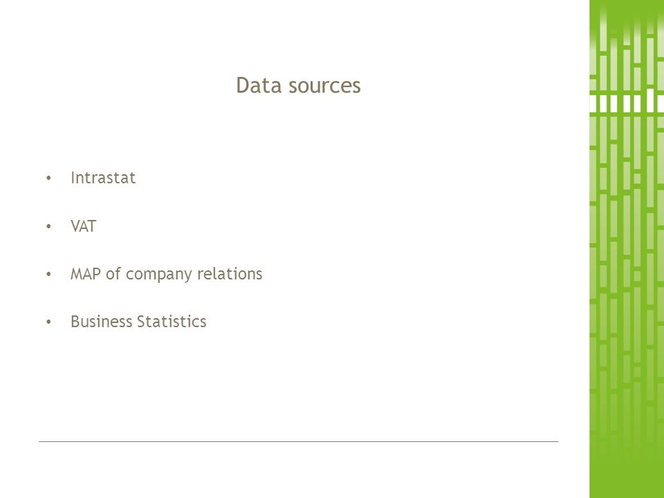 Intrastat VAT MAP of company relations Business Statistics Data sources