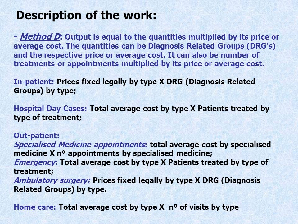 - Method D: Output is equal to the quantities multiplied by its price or average cost.