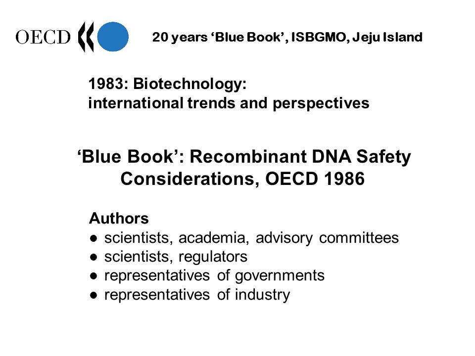 20 years Blue Book, ISBGMO, Jeju Island Blue Book: Recombinant DNA Safety Considerations, OECD 1986 Authors scientists, academia, advisory committees scientists, regulators representatives of governments representatives of industry 1983: Biotechnology: international trends and perspectives