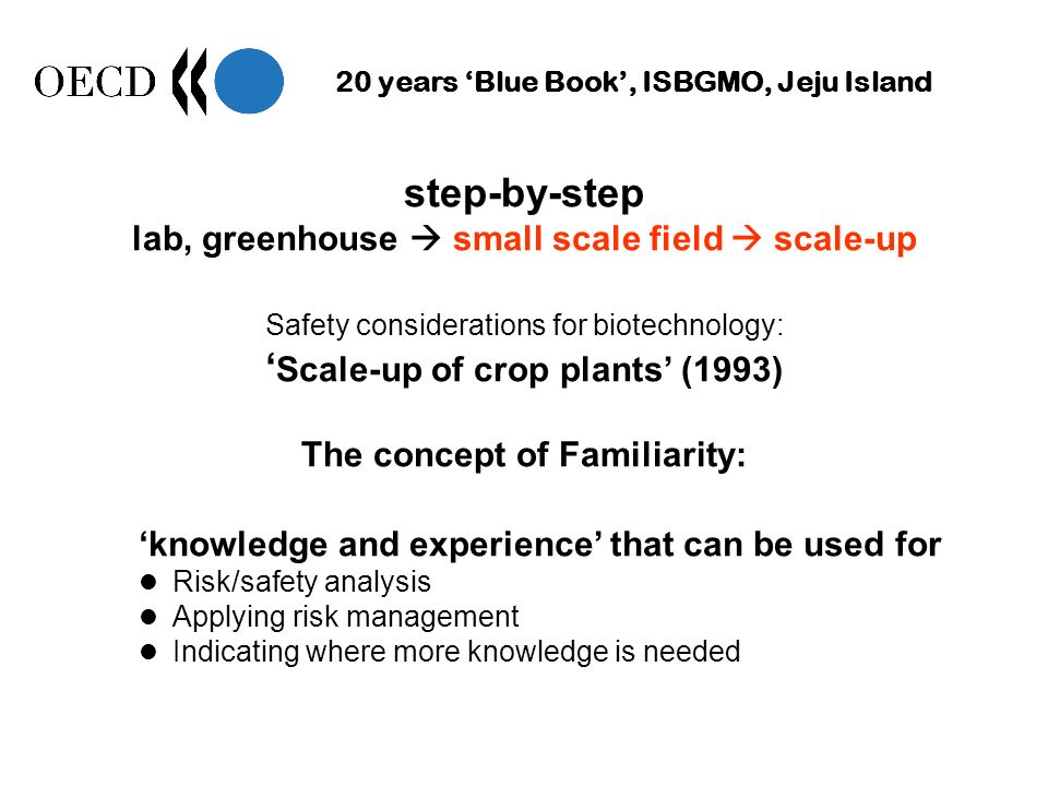 20 years Blue Book, ISBGMO, Jeju Island step-by-step lab, greenhouse small scale field scale-up Safety considerations for biotechnology: Scale-up of c