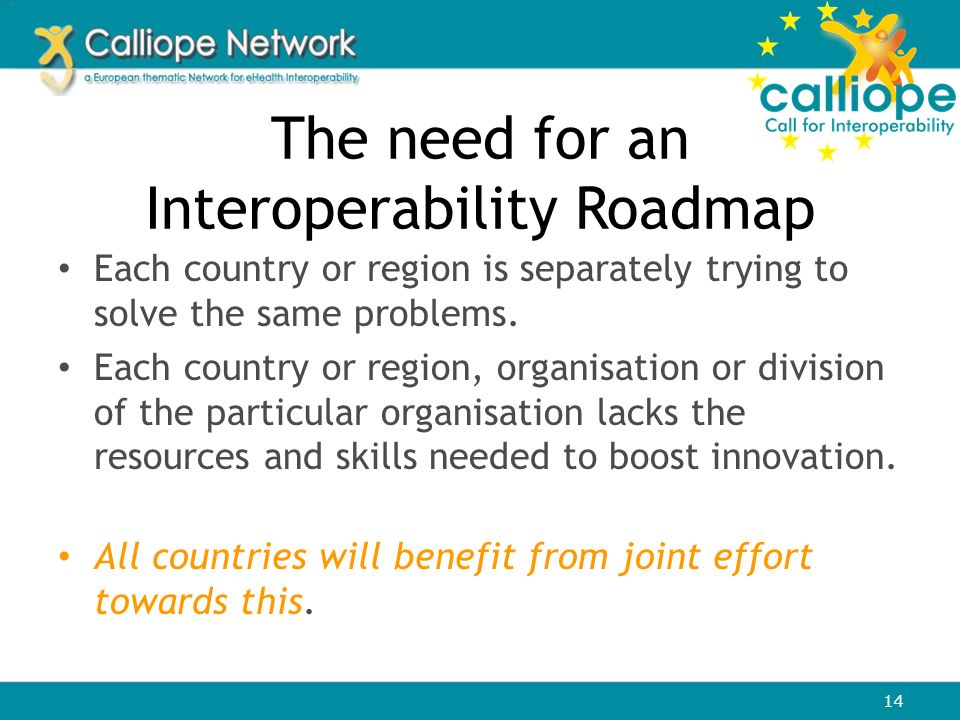 The need for an Interoperability Roadmap Each country or region is separately trying to solve the same problems. Each country or region, organisation