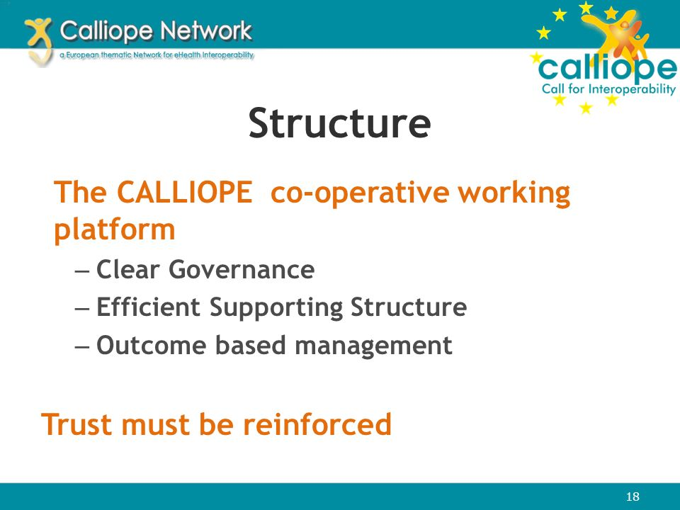 Structure The CALLIOPE co-operative working platform – Clear Governance – Efficient Supporting Structure – Outcome based management Trust must be rein