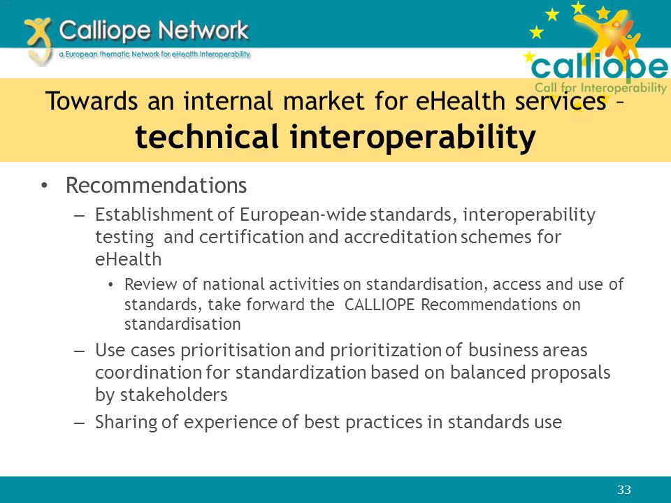 Towards an internal market for eHealth services – technical interoperability Recommendations – Establishment of European-wide standards, interoperabil