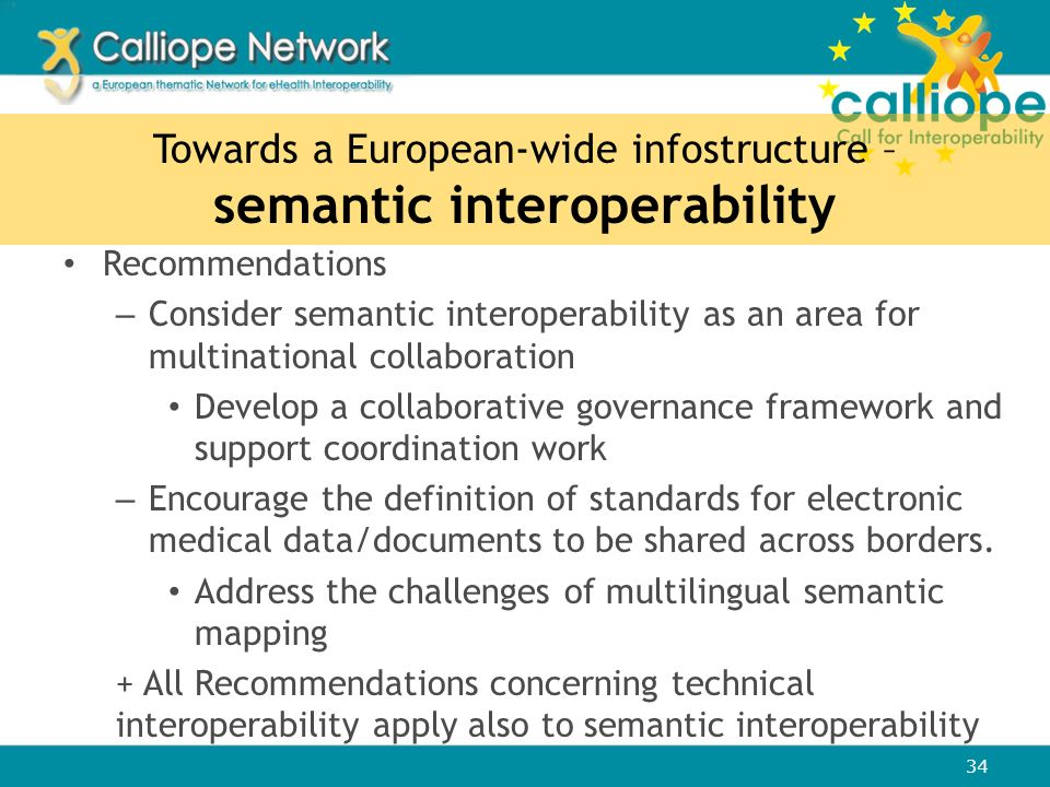 Towards a European-wide infostructure – semantic interoperability Recommendations – Consider semantic interoperability as an area for multinational co