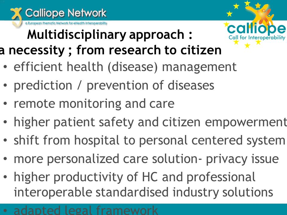 Multidisciplinary approach : a necessity ; from research to citizen efficient health (disease) management prediction / prevention of diseases remote m