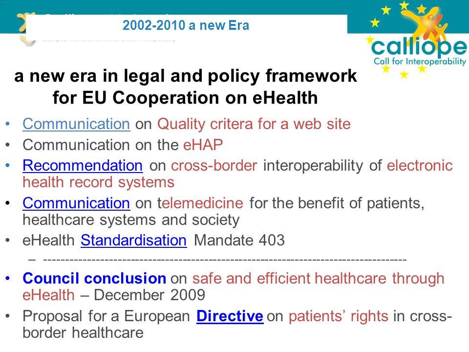 other EU current initiatives Health – Europe 2020: Sustainable health Standardisation – Digital Agenda – Access – IT Standardisation eHealth M.S.