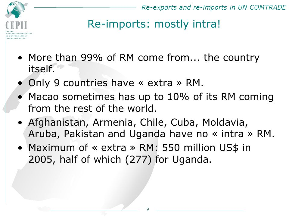 Re-exports and re-imports in UN COMTRADE 9 Re-imports: mostly intra.