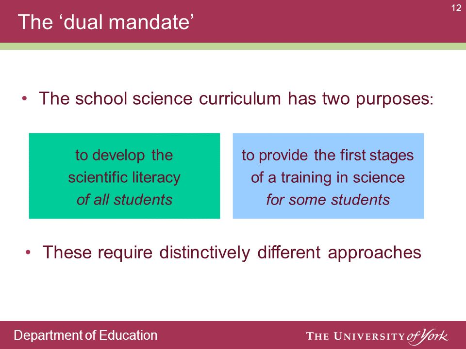 Department of Education 12 The school science curriculum has two purposes : The dual mandate to develop the scientific literacy of all students to pro