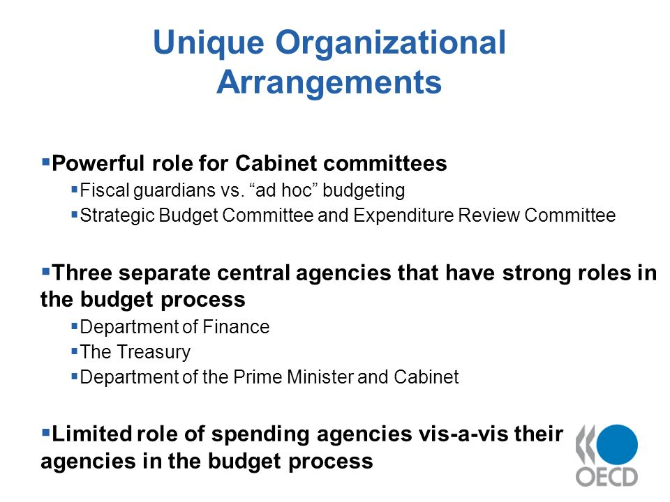 Unique Organizational Arrangements Powerful role for Cabinet committees Fiscal guardians vs.