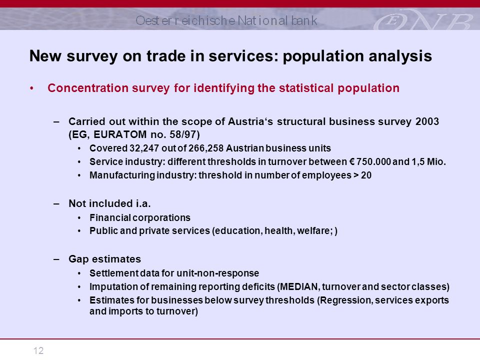 12 Concentration survey for identifying the statistical population –Carried out within the scope of Austrias structural business survey 2003 (EG, EURATOM no.