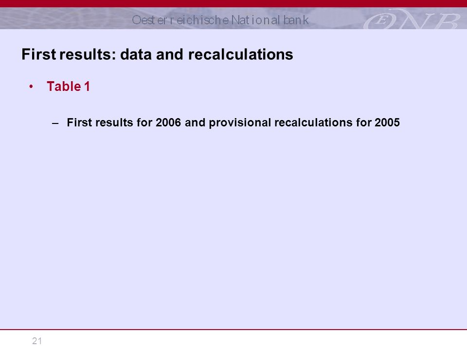 21 Table 1 –First results for 2006 and provisional recalculations for 2005 First results: data and recalculations