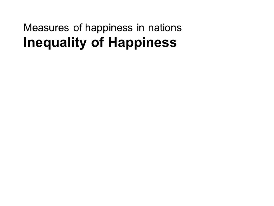 Measures of happiness in nations Inequality of Happiness