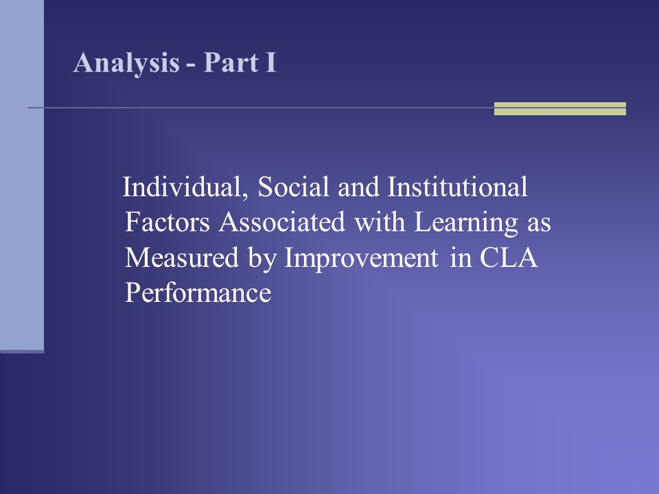 Analysis - Part I Individual, Social and Institutional Factors Associated with Learning as Measured by Improvement in CLA Performance