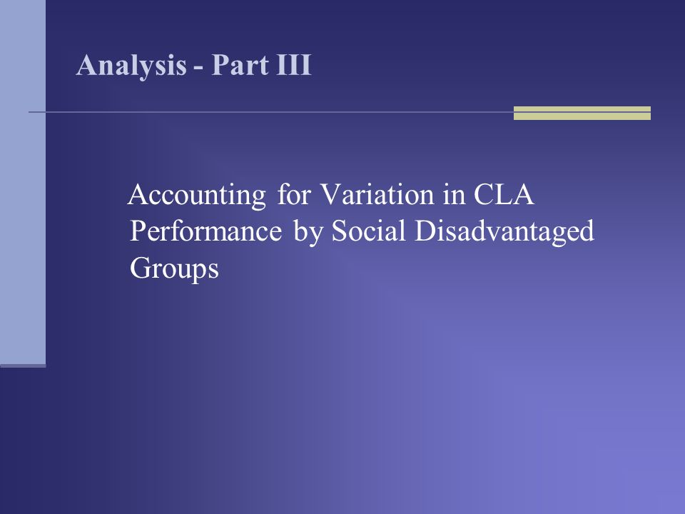 Analysis - Part III Accounting for Variation in CLA Performance by Social Disadvantaged Groups