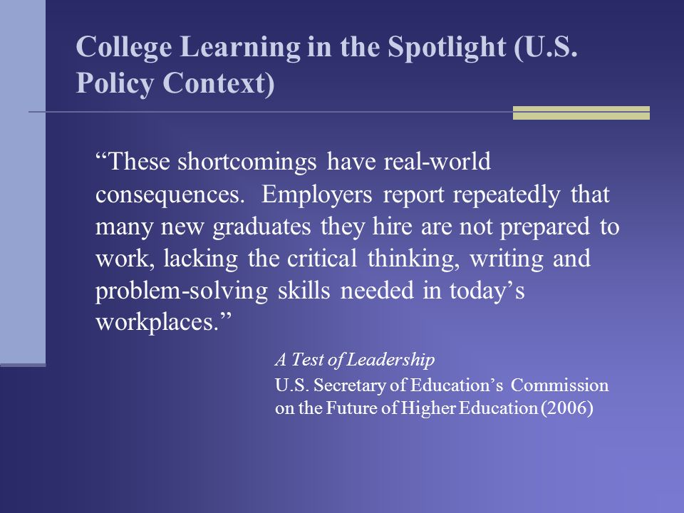 College Learning in the Spotlight (U.S.