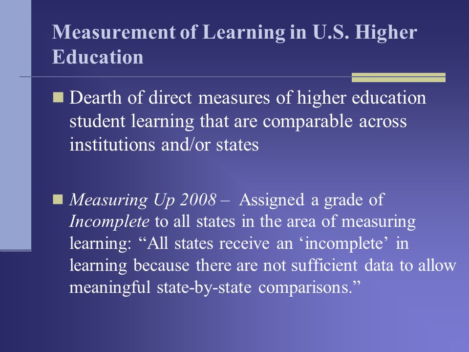 Measurement of Learning in U.S.