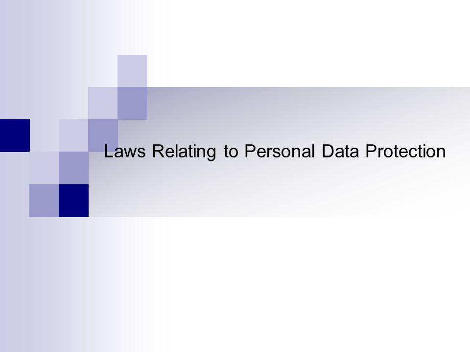 Laws Relating to Personal Data Protection