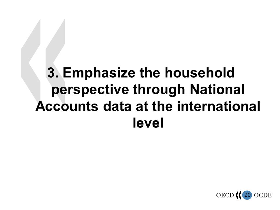 20 3. Emphasize the household perspective through National Accounts data at the international level