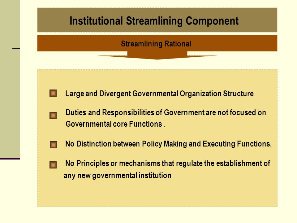 Institutional Streamlining Component Streamlining Rational Large and Divergent Governmental Organization Structure Duties and Responsibilities of Gove