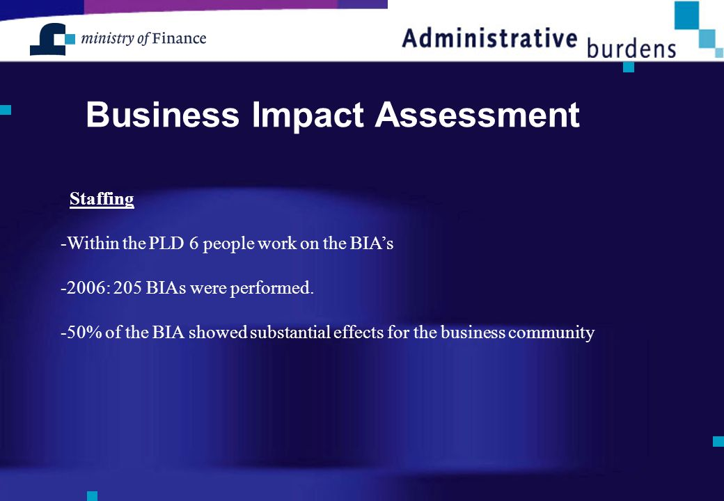 Business Impact Assessment Staffing -Within the PLD 6 people work on the BIAs -2006: 205 BIAs were performed.