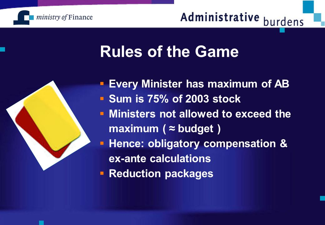 Rules of the Game Every Minister has maximum of AB Sum is 75% of 2003 stock Ministers not allowed to exceed the maximum ( budget ) Hence: obligatory compensation & ex-ante calculations Reduction packages