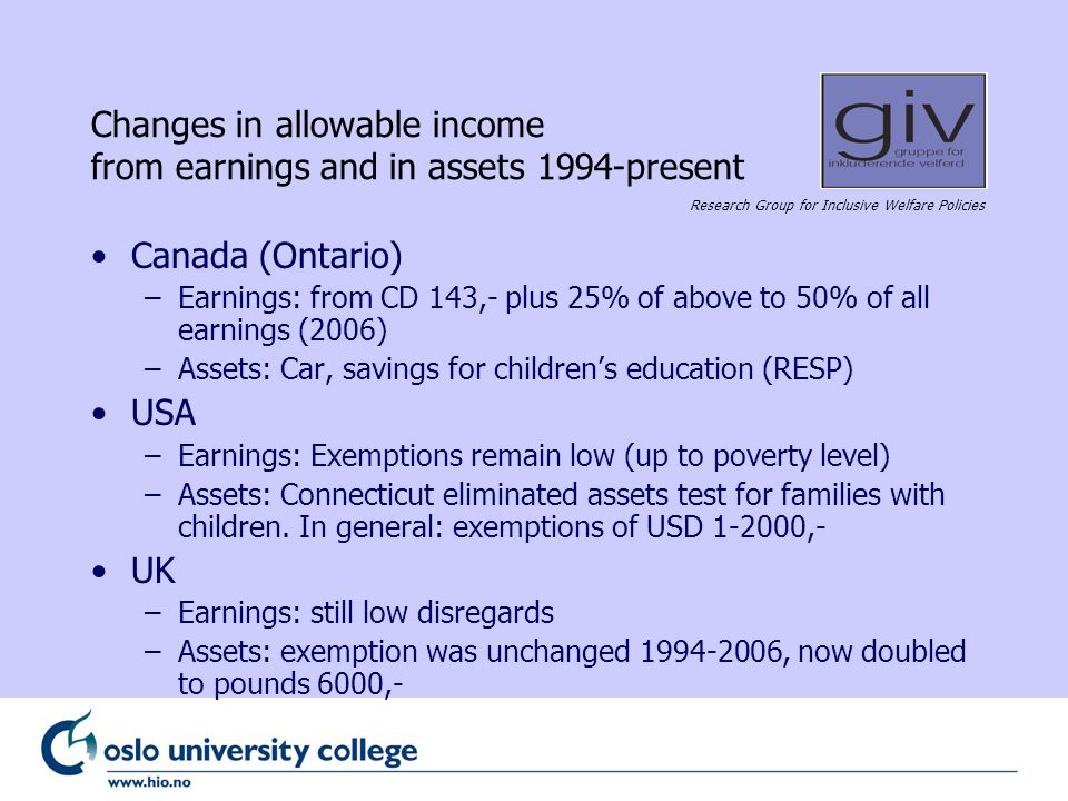 Research Group for Inclusive Welfare Policies Changes in allowable income from earnings and in assets 1994-present Canada (Ontario) –Earnings: from CD 143,- plus 25% of above to 50% of all earnings (2006) –Assets: Car, savings for childrens education (RESP) USA –Earnings: Exemptions remain low (up to poverty level) –Assets: Connecticut eliminated assets test for families with children.