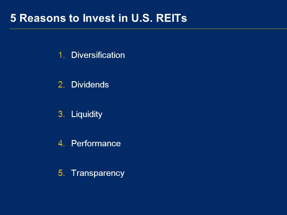 Dividends REITs Deliver Reliable Current Income Average annual dividend return 8.1 Percent Average annual total returns: 13.8% Average annual dividends: 8.1 percentage points or 59% of total return