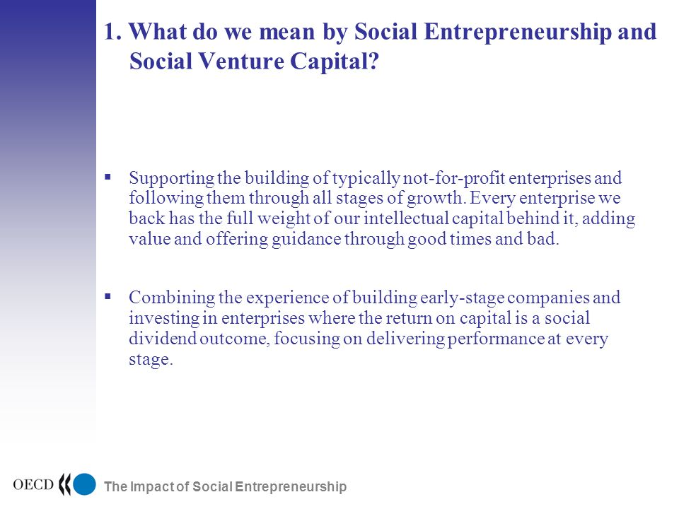 The Impact of Social Entrepreneurship 1. What do we mean by Social Entrepreneurship and Social Venture Capital? Supporting the building of typically n