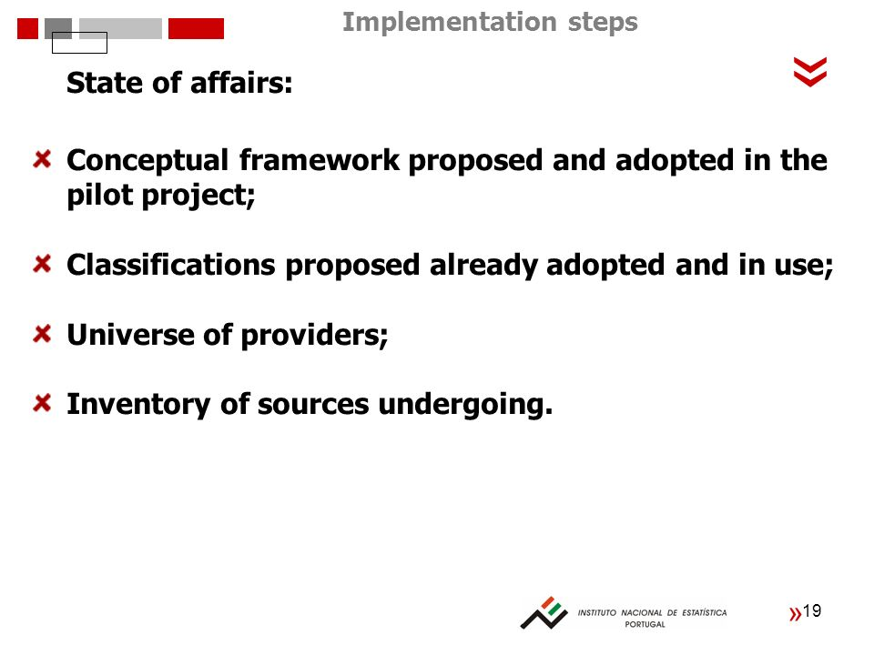 19 « « State of affairs: Conceptual framework proposed and adopted in the pilot project; Classifications proposed already adopted and in use; Universe of providers; Inventory of sources undergoing.