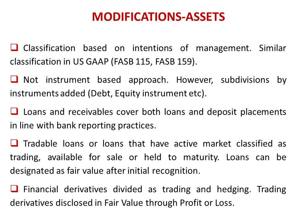MODIFICATIONS-ASSETS Classification based on intentions of management.