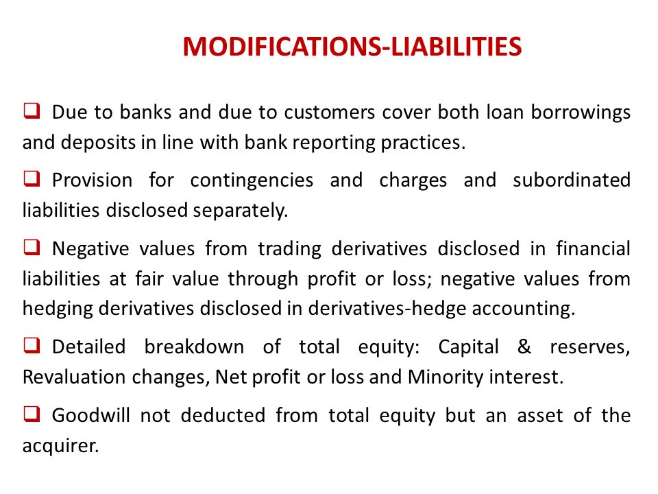 MODIFICATIONS-LIABILITIES Due to banks and due to customers cover both loan borrowings and deposits in line with bank reporting practices.