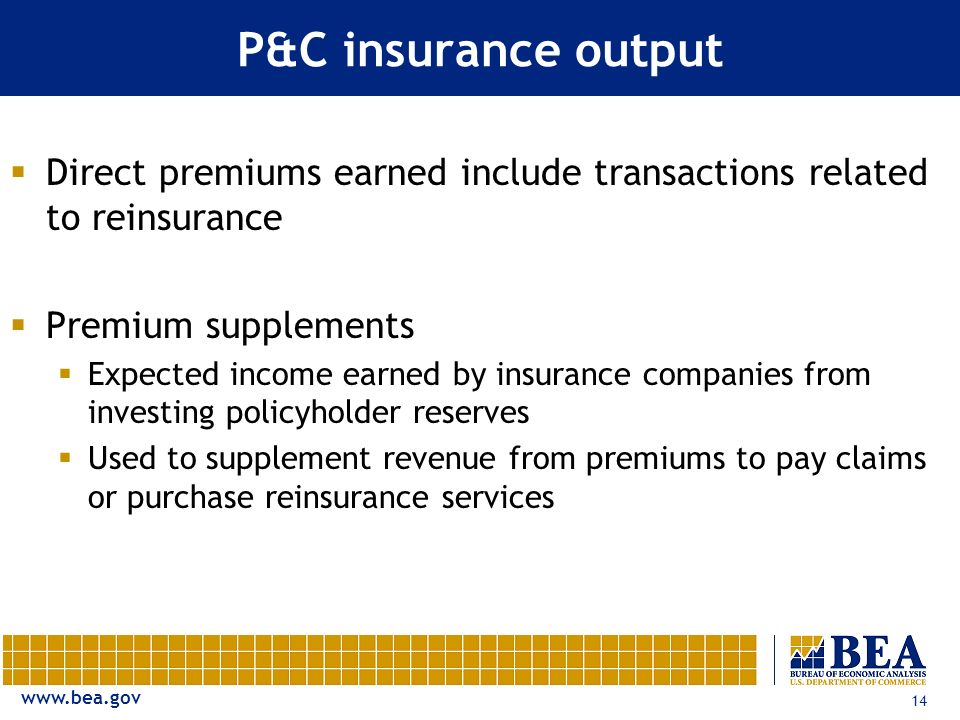 www.bea.gov 14 P&C insurance output Direct premiums earned include transactions related to reinsurance Premium supplements Expected income earned by i