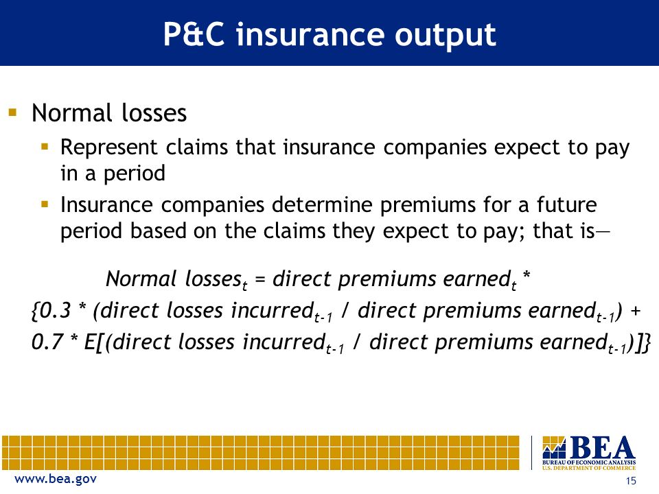 www.bea.gov 15 P&C insurance output Normal losses Represent claims that insurance companies expect to pay in a period Insurance companies determine pr
